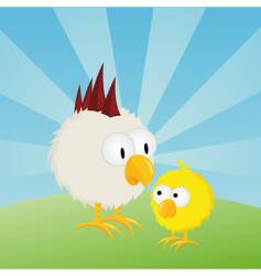 Easter chick and rooster vector image vector image