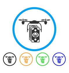 euro banknotes drone rounded icon vector image