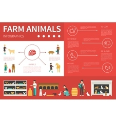 Farm animals infographic flat vector