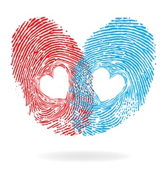 fingprint heart vector image vector image