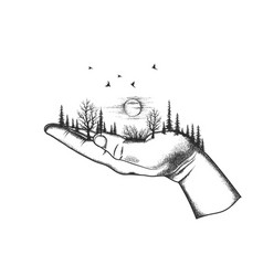 Forest are located on a human hand vector