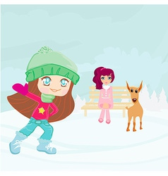 Fun in the snow on a winter day vector