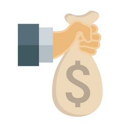 Hand holding money bag flat icon business vector