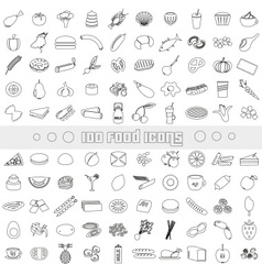 Hundred various food and drink outline icons big vector