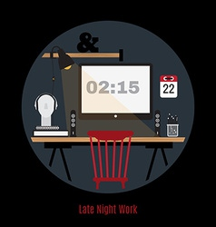 modern office workspace Freelance night vector image vector image