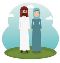 Muslim couple standing design vector