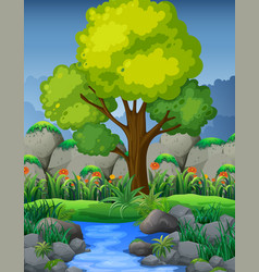 Nature scene with river in forest vector