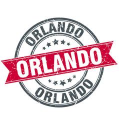 Orlando red round grunge vintage ribbon stamp vector