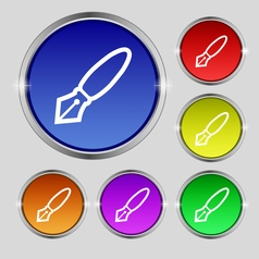 Pen icon sign Round symbol on bright colourful vector image vector image