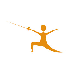 People practicing fencing icon vector