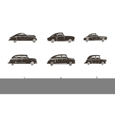 Retro car black icons collection vector