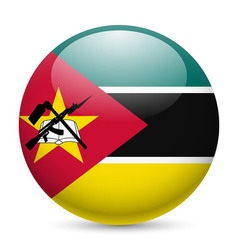 Round glossy icon of mozambique vector