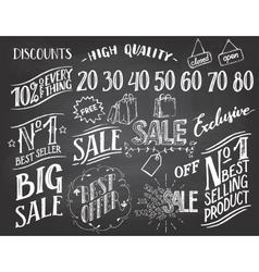 Sale hand-lettering chalkboard set vector