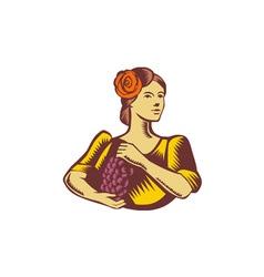 Senorita Holding Grapes Woodcut vector image vector image
