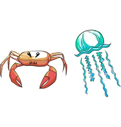set crab medusa vector image