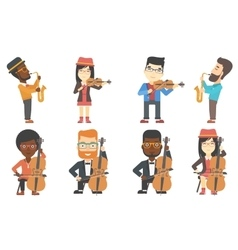 Set of musicians characters vector