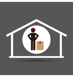 Silhouette worker delivery with box vector