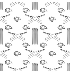 Sport pattern cricket retro background seamless vector