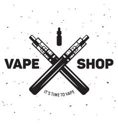 Vape e-cigarette emblem label print logo vector