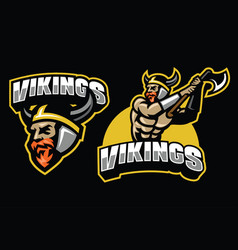 viking warrior mascot set vector image vector image