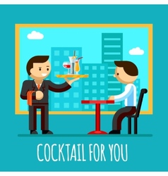 waiter brought cocktail to visitor table in the vector image vector image