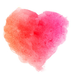 Watercolor pink brush texture heart shaped stain vector
