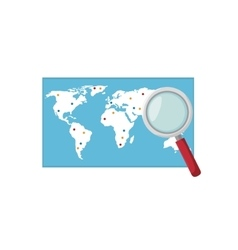 World map and loupe vector