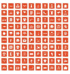 100 t-shirt icons set grunge orange vector