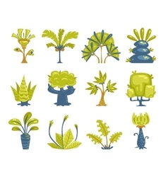 Cartoon fantasy trees and bushes set vector