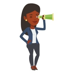 Businesswoman looking for business opportunities vector