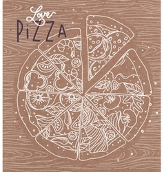 Poster love pizza brown vector image