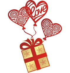 Gift love balloon vector