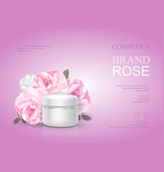 Rose moisturizing cream template skin care ads vector