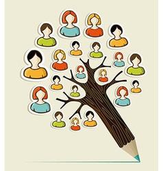 Diversity people concept pencil tree vector image