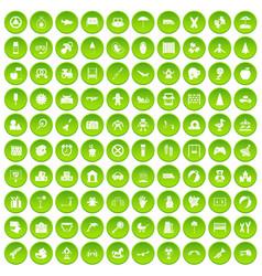 100 childhood icons set green vector