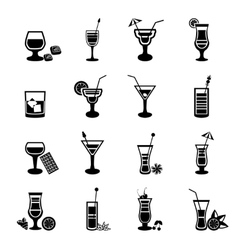 Black and white cocktail icons set vector