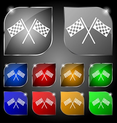 Race flag finish icon sign set of ten colorful vector