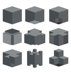 Modern dark cube icons set vector