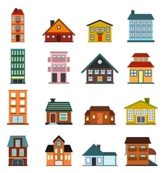 Houses flat icons set vector