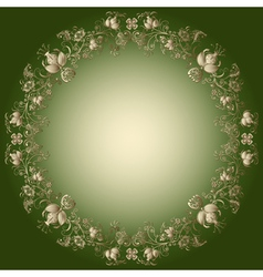 Green and gold easter frame vector