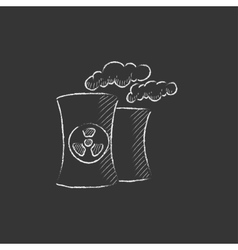 Nuclear power plant drawn in chalk icon vector