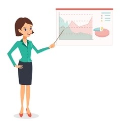 Business woman pointing on graph diagram vector