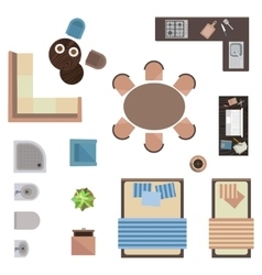 Different interior icons top view isolated on vector