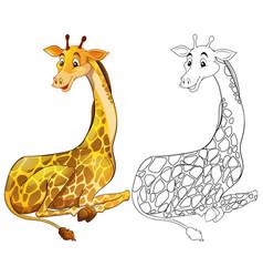 animal outline for giraffe sitting vector image vector image