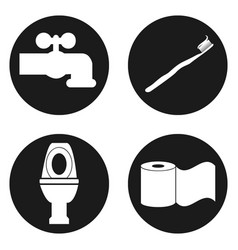 Bathroom icon set in circle button vector