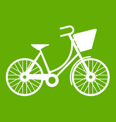 bike with luggage icon green vector image vector image