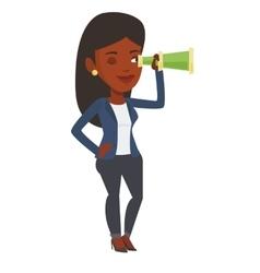 Businesswoman looking for business opportunities vector