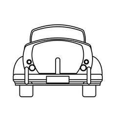 Classic car travel image outline vector