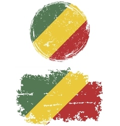 Congo Republic round and square grunge flags vector image