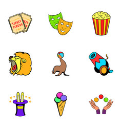 entertaining show icons set cartoon style vector image